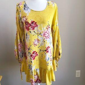 Jaase Yellow Floral Boho Tunic/Dress Size M